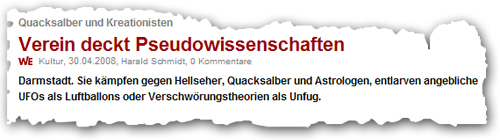 Screenshot von DerWesten.de, 30.04.2008