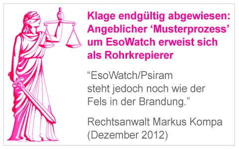 """Klage abgewiesen: """"EsoWatch-Musterprozess"""" erweist sich als Rohrkrepierer (Dezember 2012)"""