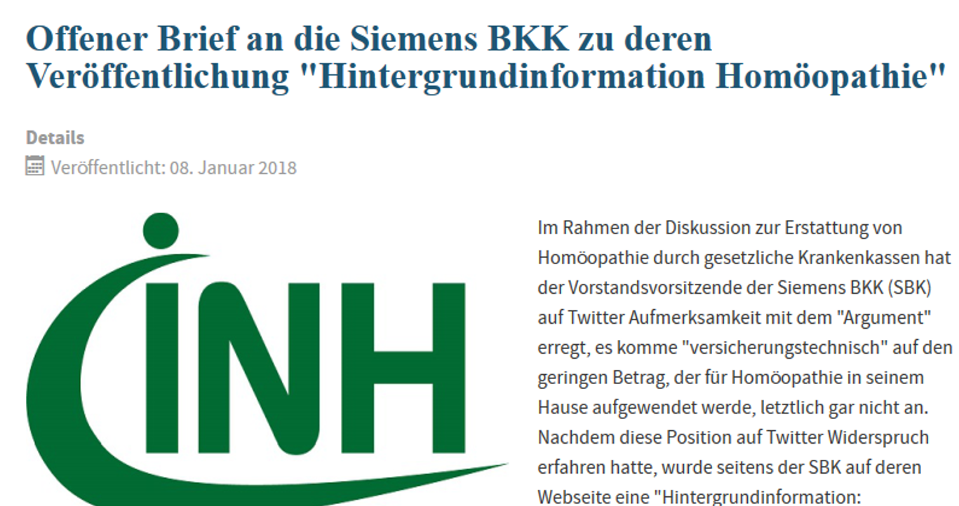 Homöopathie: Nichts ist immer zu teuer, liebe Siemens BKK | gwup ...